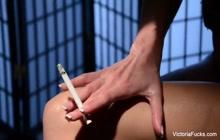 Victoria smokes a cigarette & masturbates