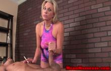 Mature blonde gives cock massage